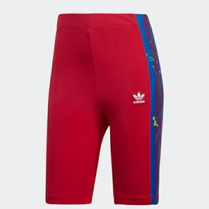 Adidas Floral Embroidered Panel Biker Shorts
